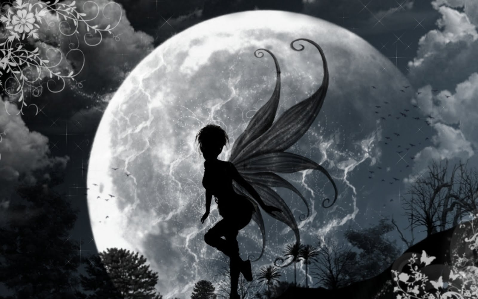 Dark Fairy in Moonlight Wallpaper , here you can see Dark Fairy in ...