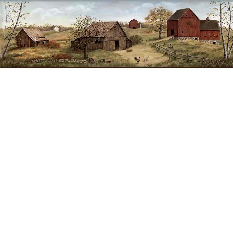 Brown Farmstead Wallpaper Border   Rustic Country Primitive 800x800
