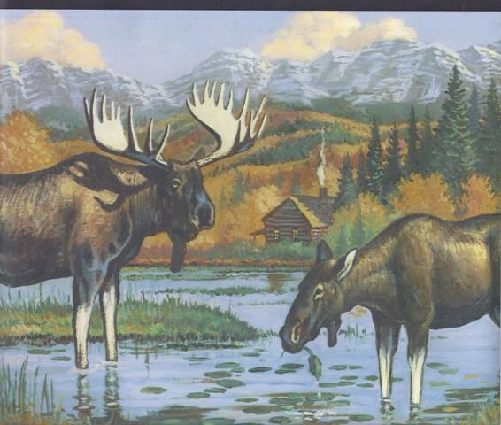 Black Mountain Lake Moose Wallpaper Border   Country Folk 566x480