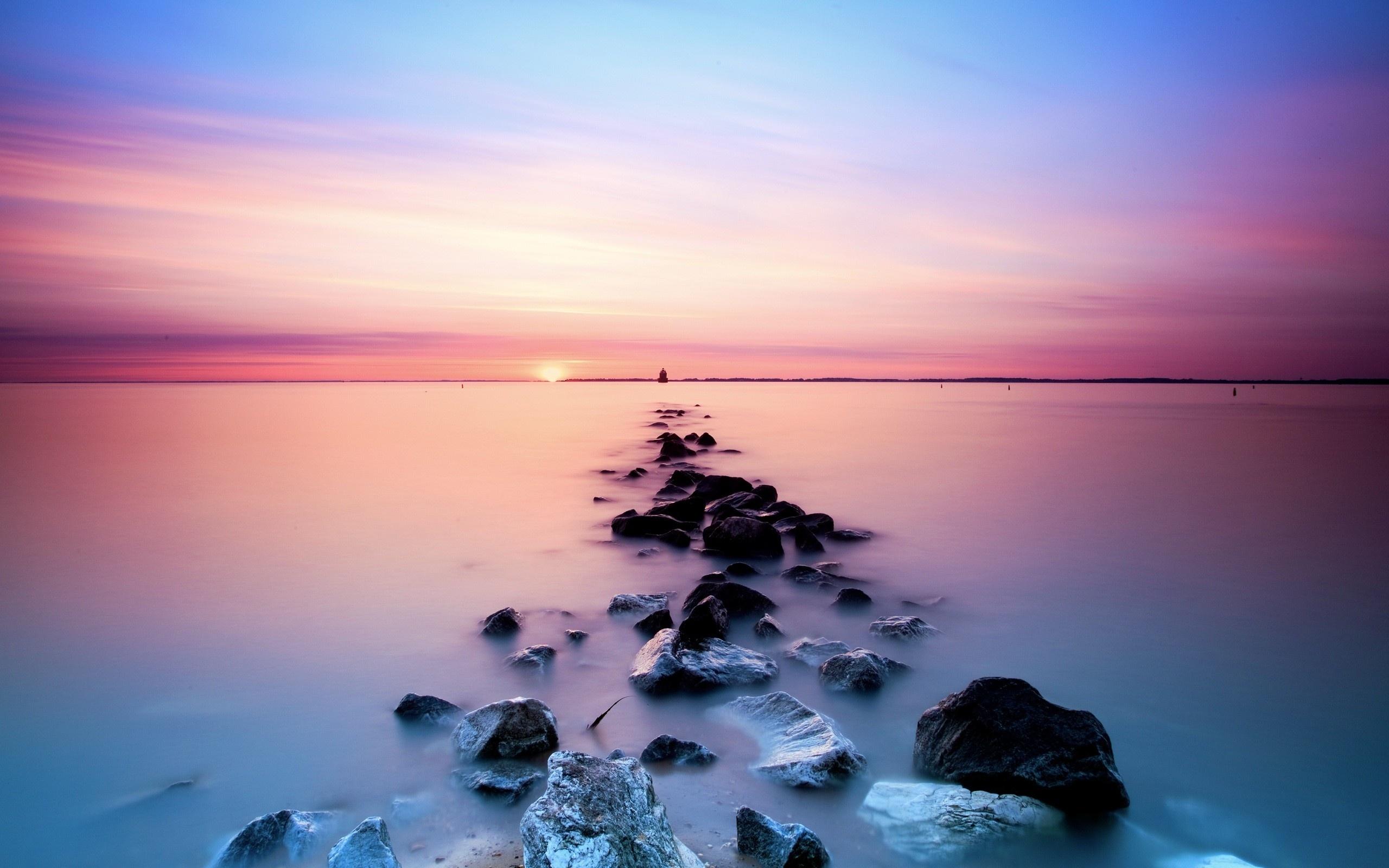 Wallpaper Pastel Sunset Beach 2560x1600