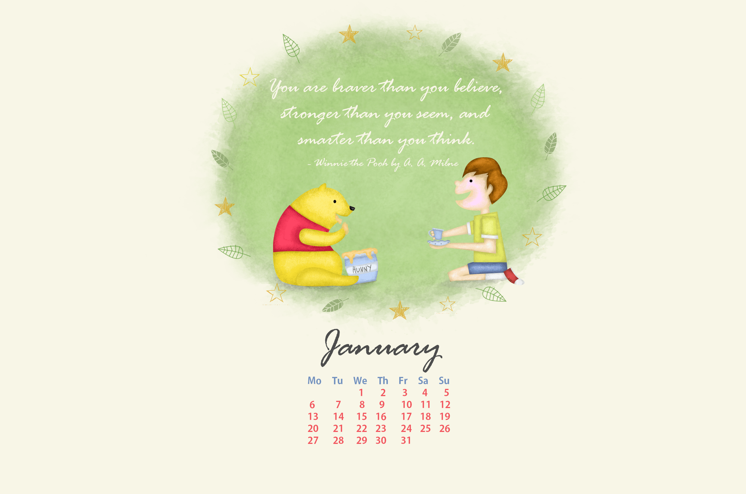 Wallpaper January 2020 Calendar