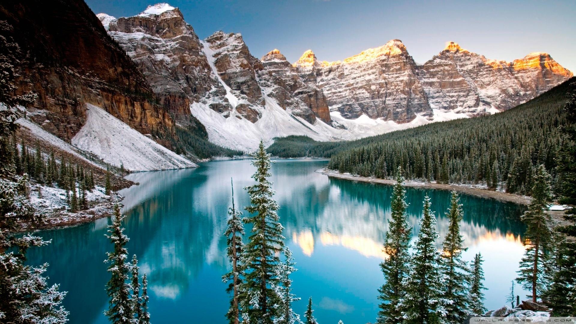Alberta Canada Wallpaper 1920x1080 Winter Moraine Lake Alberta 1920x1080