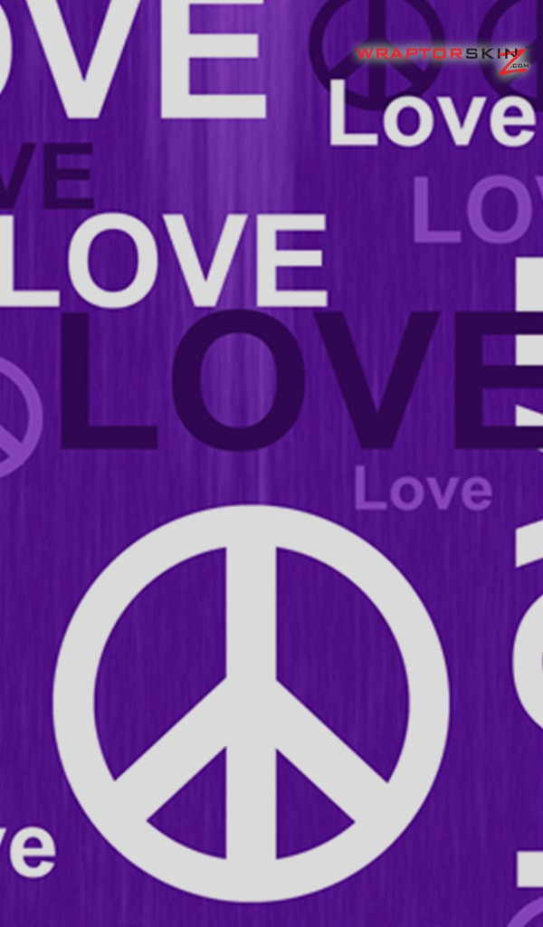 amazon kindle fire original decal style skin love and peace purple 600x1024