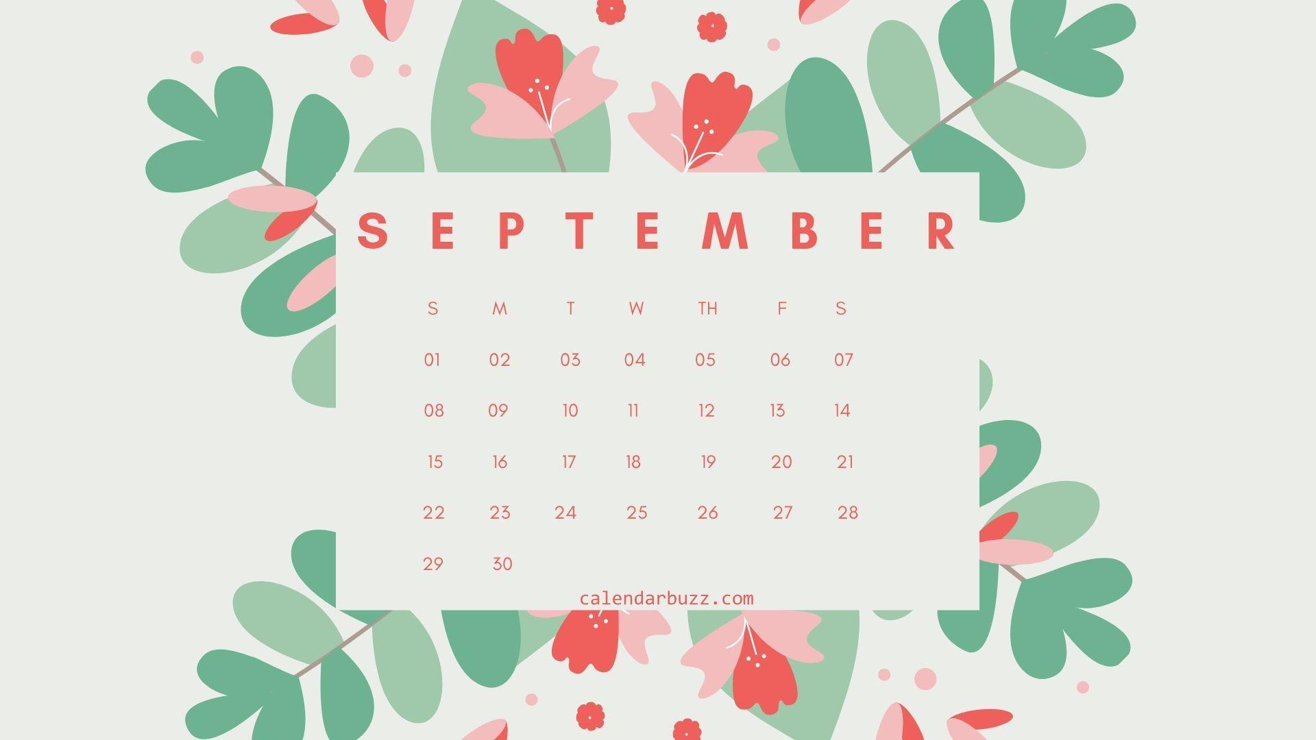 September 2019 Flower Calendar Wallpaper in 2019 Calendar 1920x1080