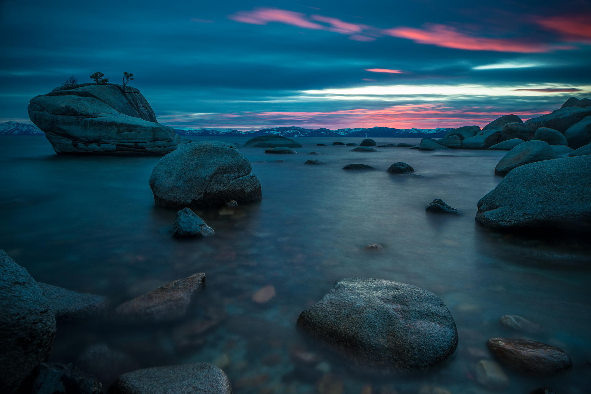 Wallpaper bonsai rock lake tahoe lake rock rocks nature twilight 2048x1367