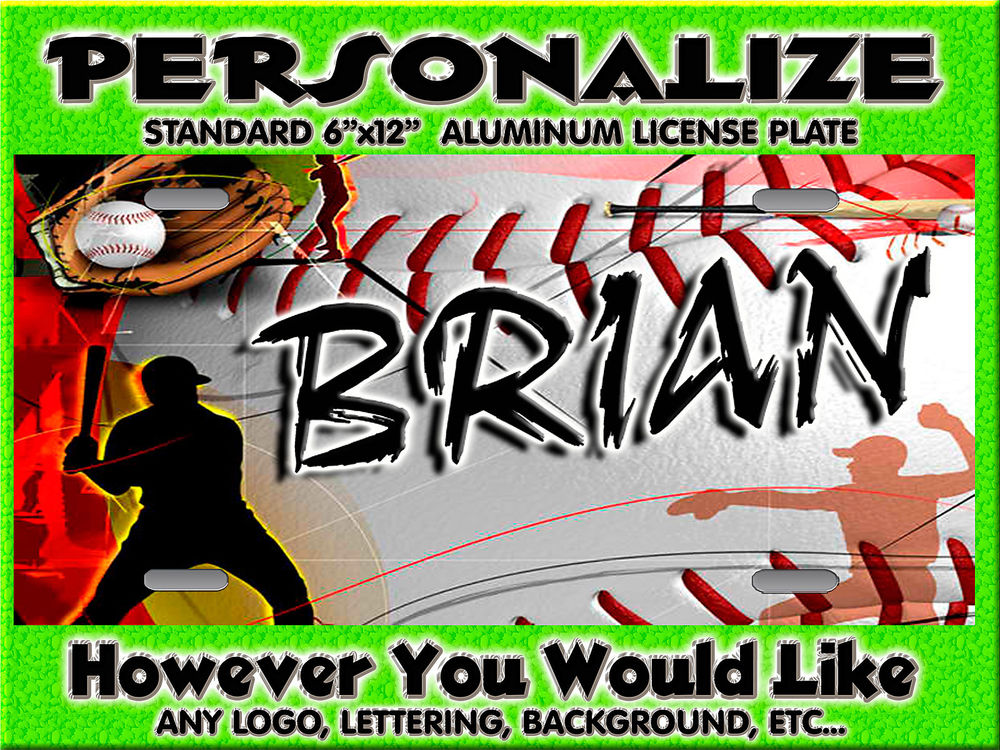 Baseball Mom Dad Background Personalized Monogrammed License 1000x750