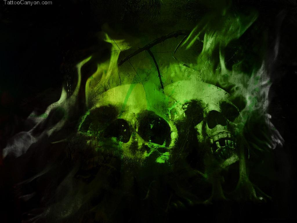 Green Flaming Skulls Wallpaper Picture 6952 1024x768