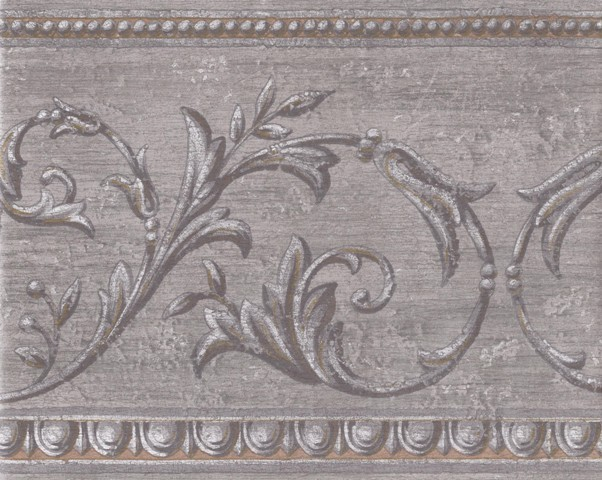 Silver Gold Aged Molding Wallpaper Border   Traditional   Wallpaper 602x480