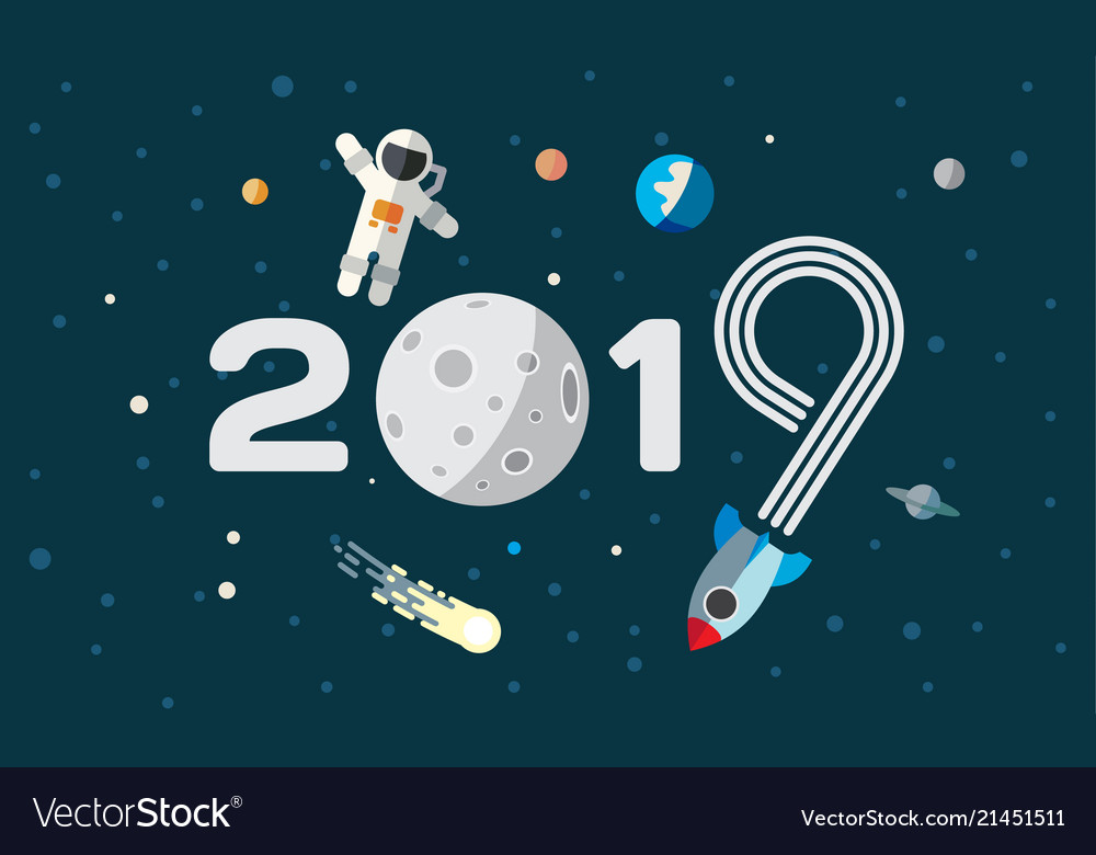 The astronaut and rocket on the moon background Vector Image 1000x780