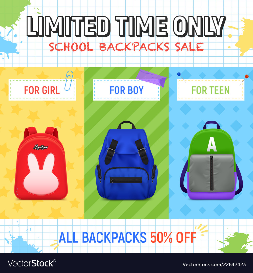 School backpacks sale background Royalty Vector Image 1000x1080