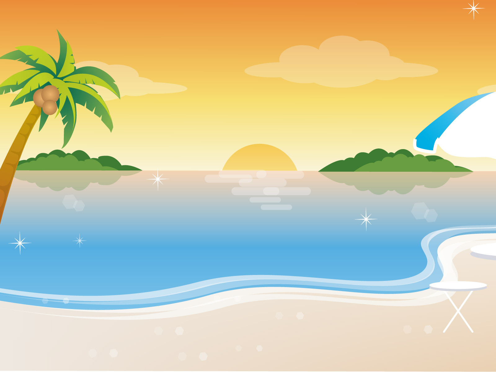 Vector Scenery   Vector Tropical Beach 16001200 NO19 Wallpaper 1600x1200