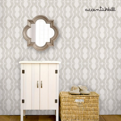 Wave Grey Peel and Stick Fabric Wallpaper Repositionable 500x500