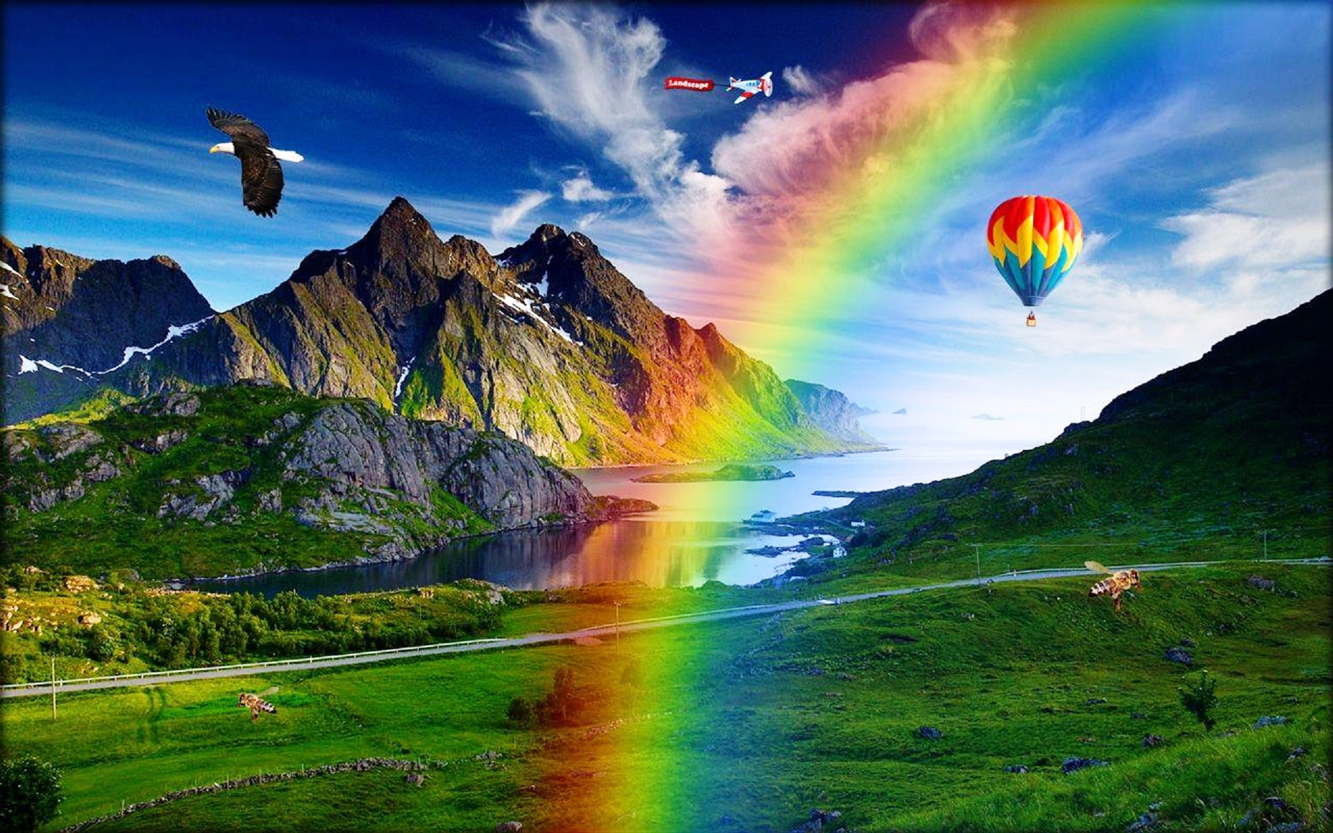Rainbow and green nature fabulous wallpapers   New hd 1920x1200