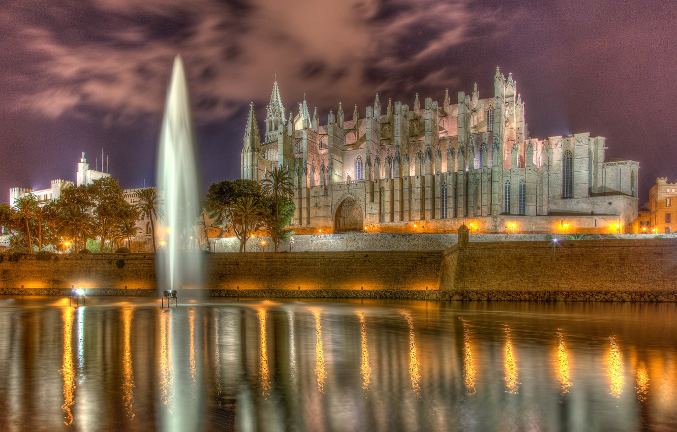 Wallpaper wall Cathedral fountain Spain promenade pond Spain 1332x850
