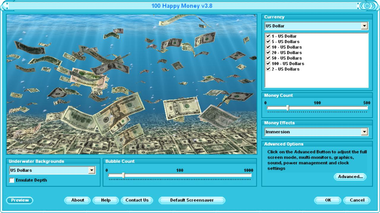 Falling 3D Money Screen Saver with Dollar and Euro Money 1280x720