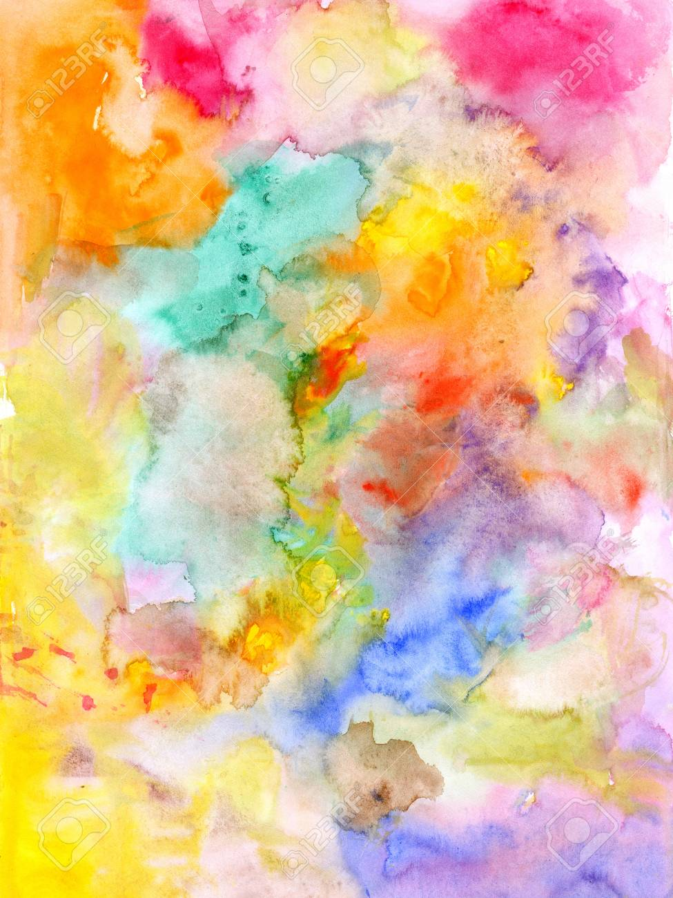 Abstract Watercolor Colorful Background   Hand Drawn Stock Photo 975x1300