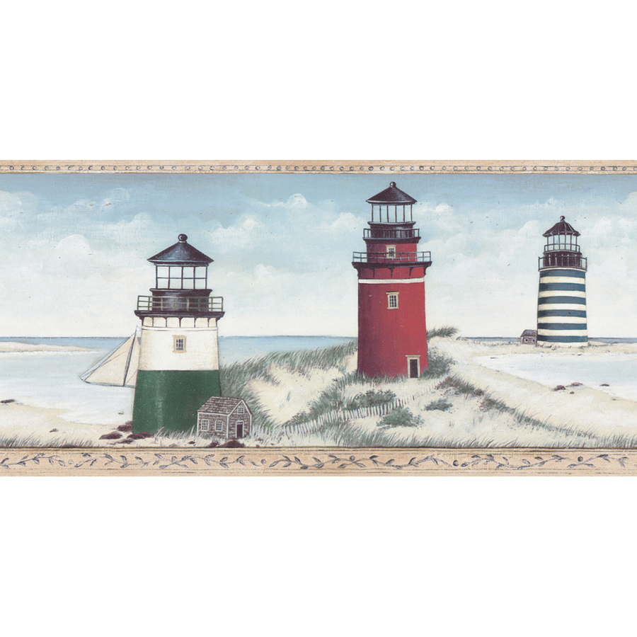 roth 10 12 Blue Lighthouse Prepasted Wallpaper Border at Lowescom 900x900
