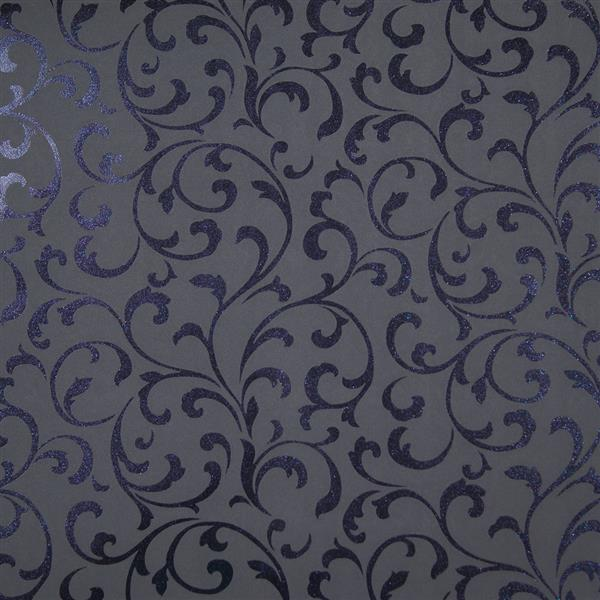 Dark Grey Reflective Purple Embossed Luxury Velvet Wallpaper 10m Roll 600x600