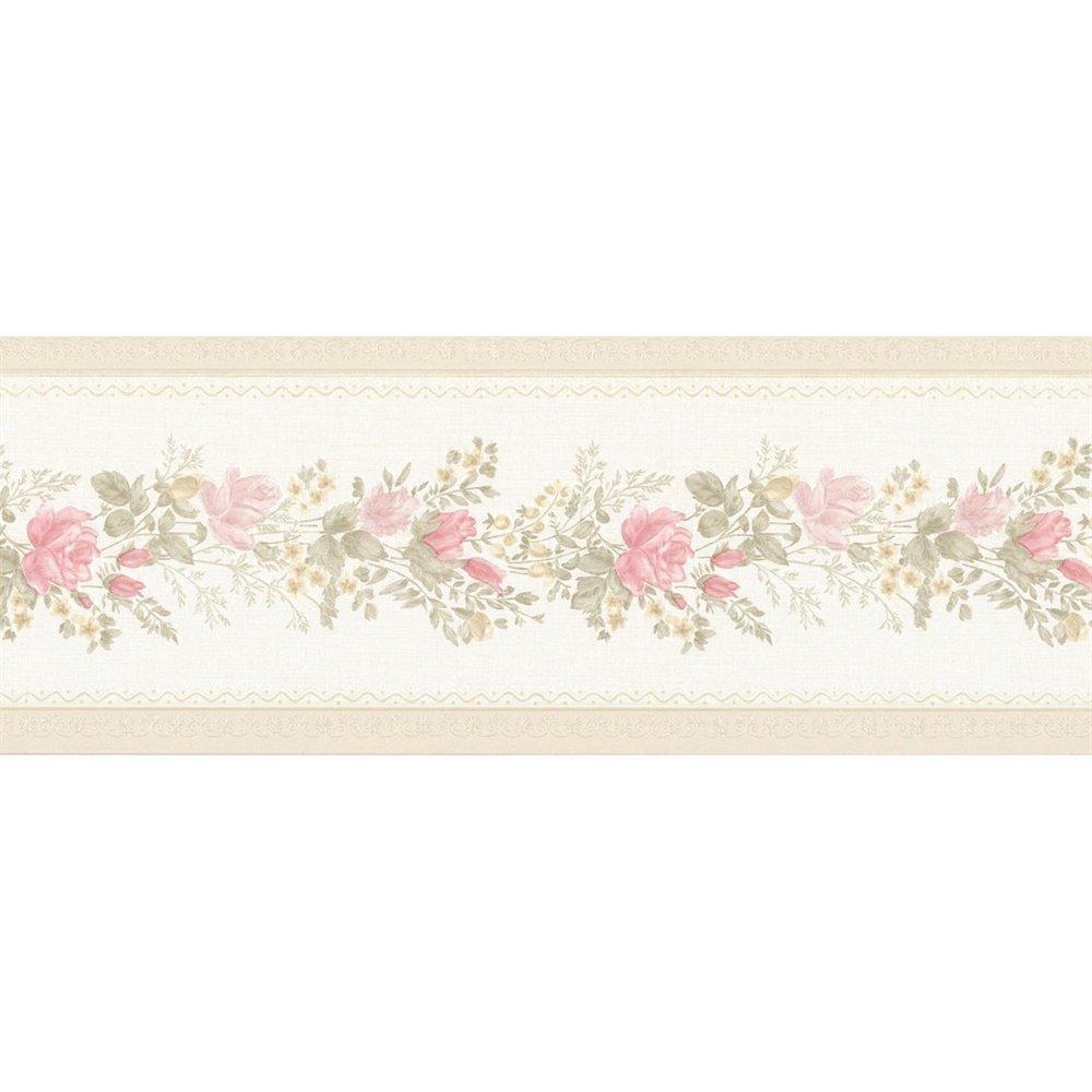 Vintage Rose Alexa Pink Floral Meadow Wallpaper Border ATG Stores 1000x1000