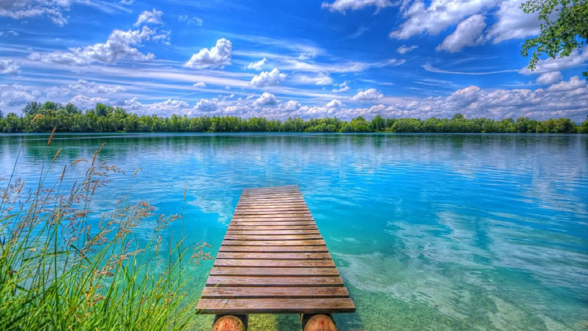 Background Beautiful Nature Lake Blue Sky With White 1920x1080