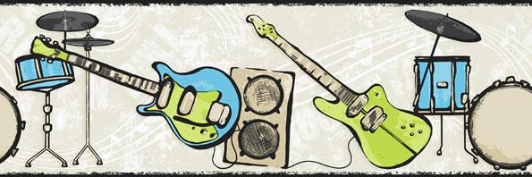 Rock and Roll Guitar Wallpaper Border CK7782B drum music star 595x198