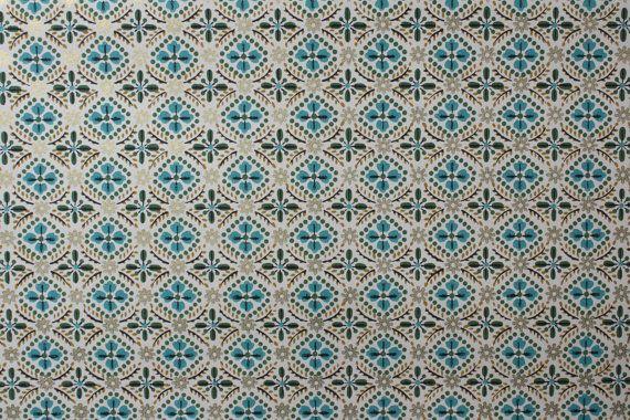 1940s Vintage Wallpaper Aqua Green and Gold Geometric pattern 570x380