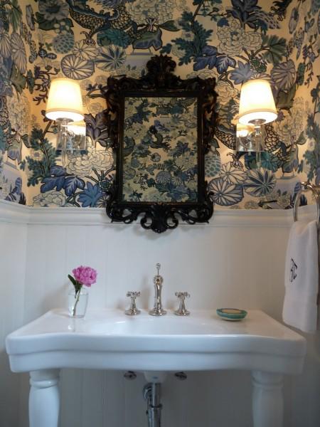Go Big with Bold Powder Room Wallpaper eclecticallyvintagecom 450x600