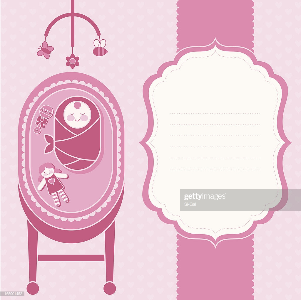 Baby Girl Birth Announcement Card High Res Vector Graphic   Getty 1024x1022