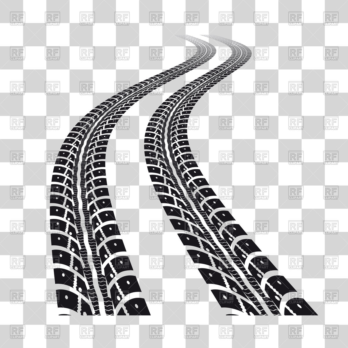 Tire tracks on checkered background Vector Image of Backgrounds 1200x1200