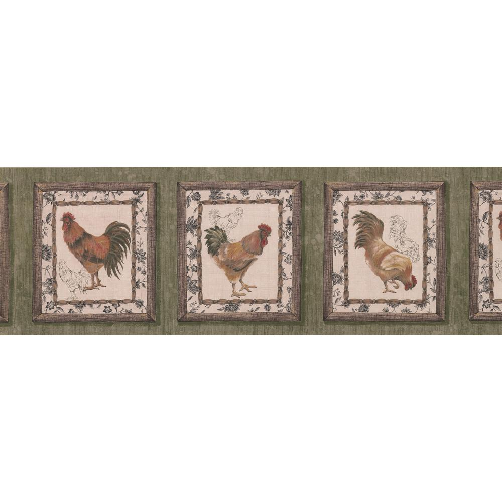 Retro Art Retro Rooster Paintings on Green Wall Vintage Prepasted 1000x1000
