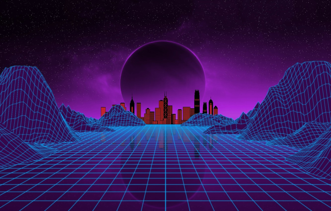 Wallpaper Music The city Stars Neon Planet Space Background 1332x850