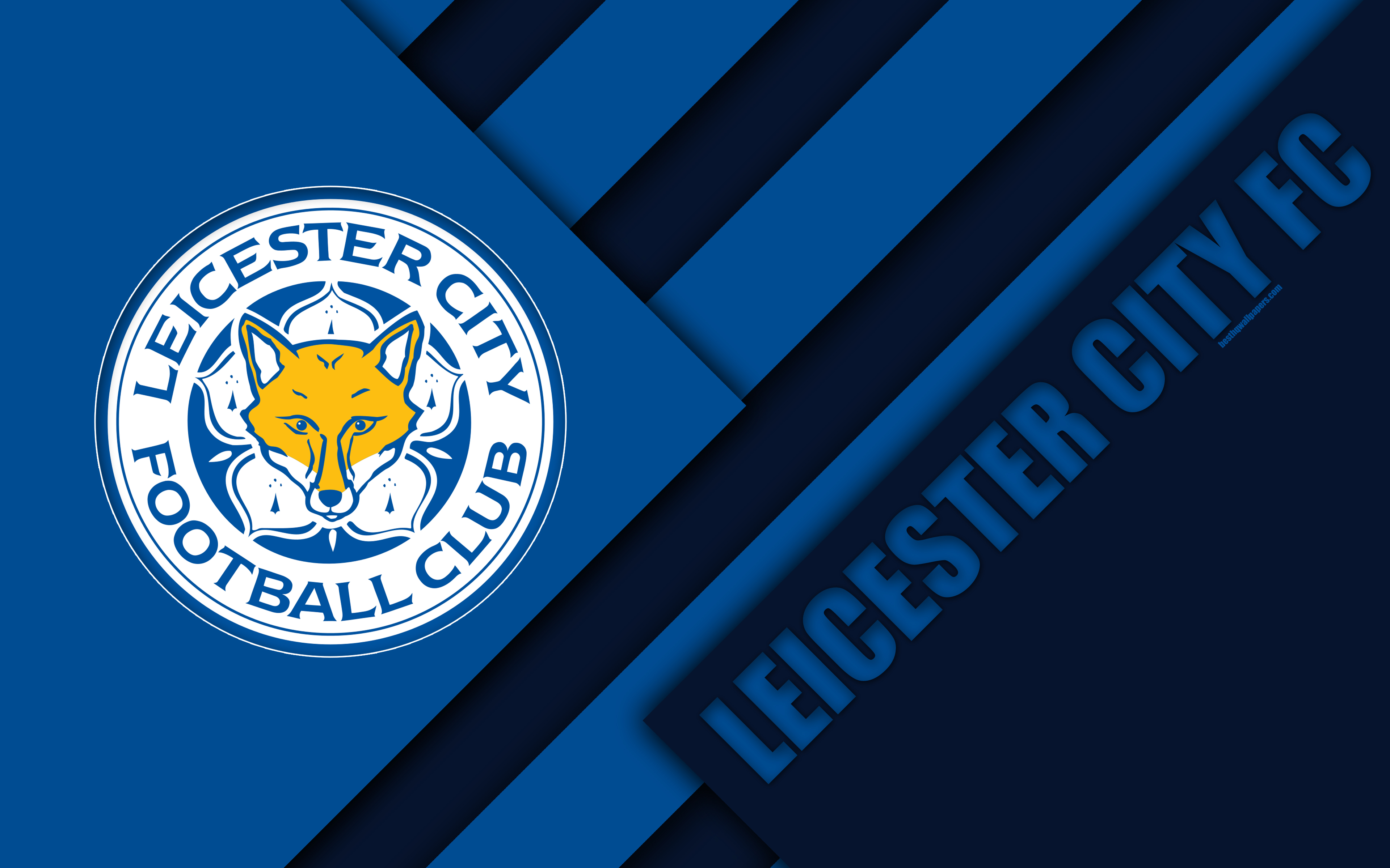 Download wallpapers Leicester City FC logo 4k material design 3840x2400
