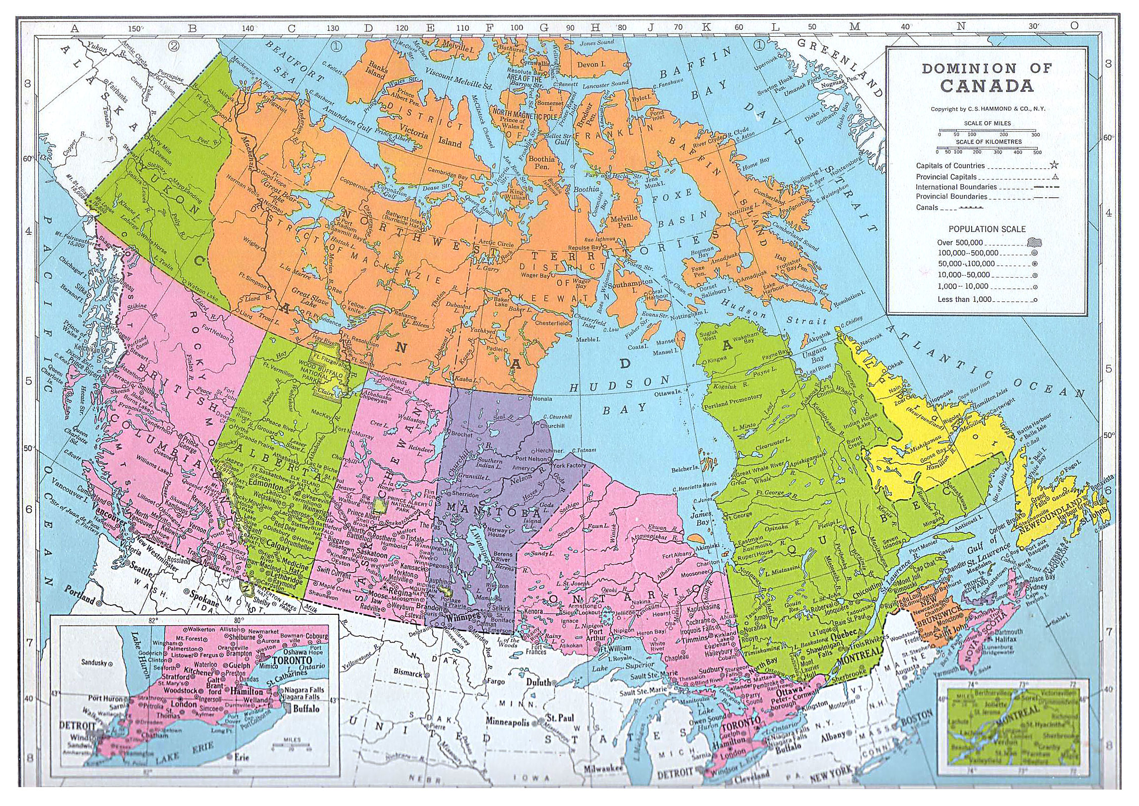 Map Of North America And Canada 2295x1623