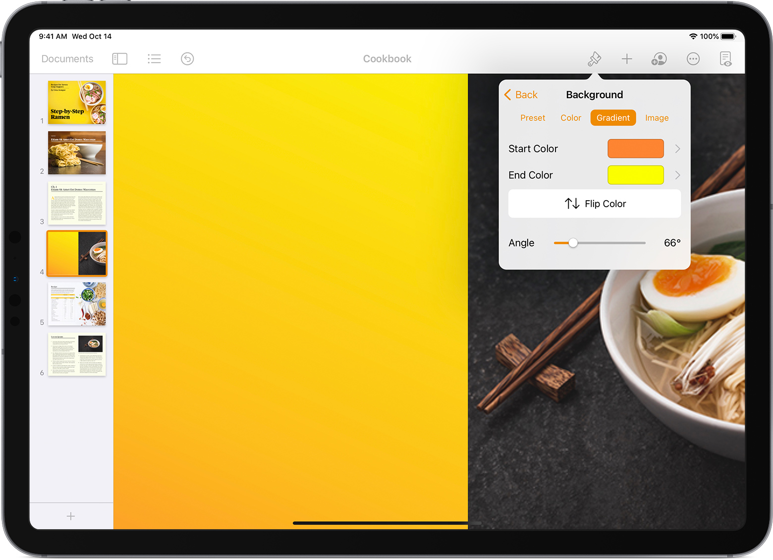 Change the background of your Pages Numbers or Keynote document 1560x1130