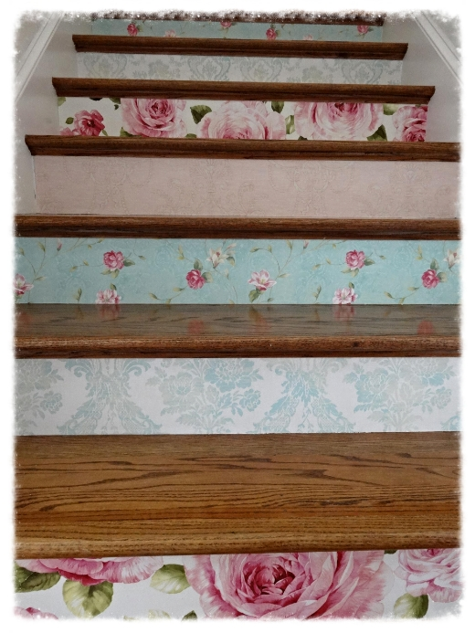 Wallpapering Stair Risers TutorialTips Art Home 520x693