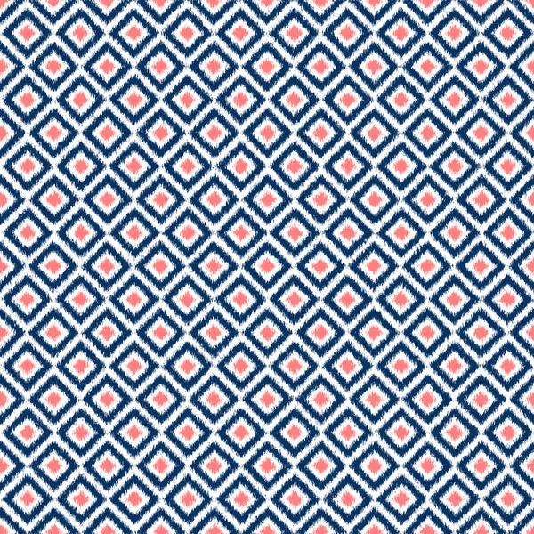Navy Blue and Coral Diamond Ikat Pattern Art Print by Heartlocked 600x600