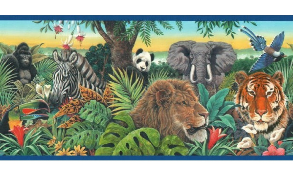 Home Blue Jungle Animals Wallpaper Border 1000x600