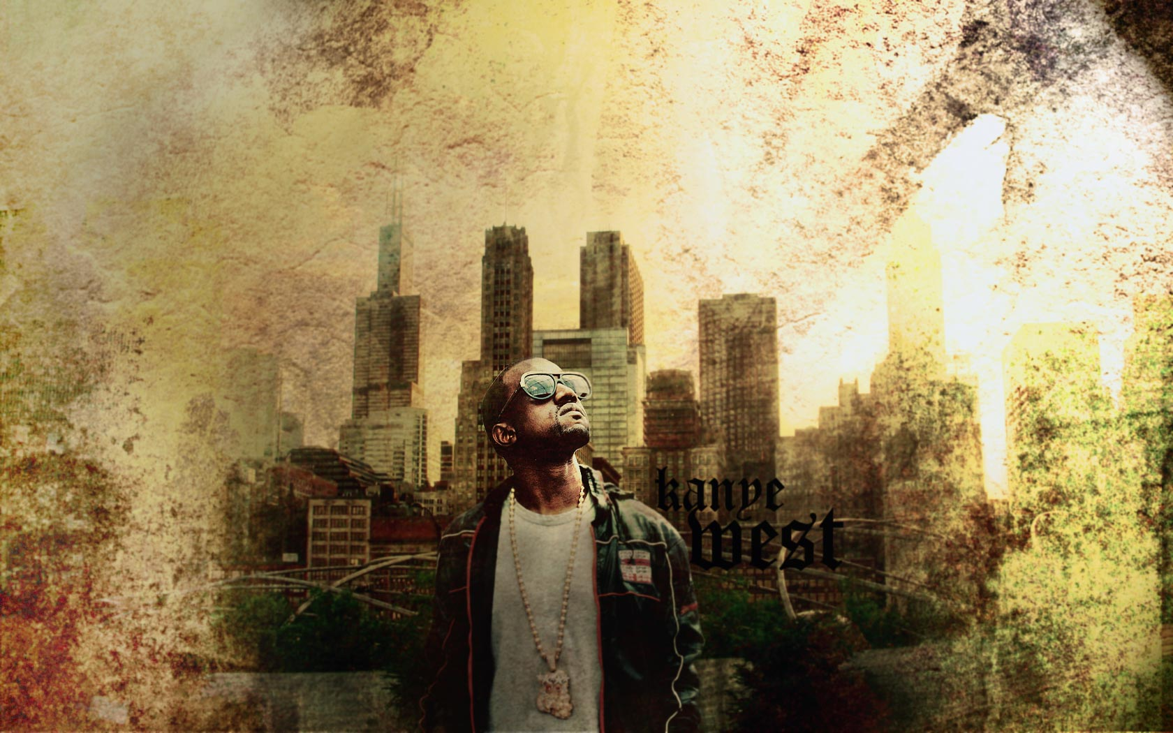 kanye west desktop wallpaper screensaver background hd big city power 1680x1050
