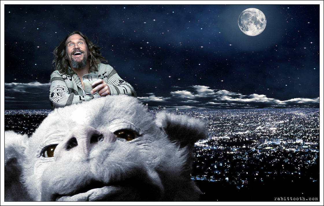 Dude Riding Falcor Lebowski Neverending Story by Rabittooth on 1121x713