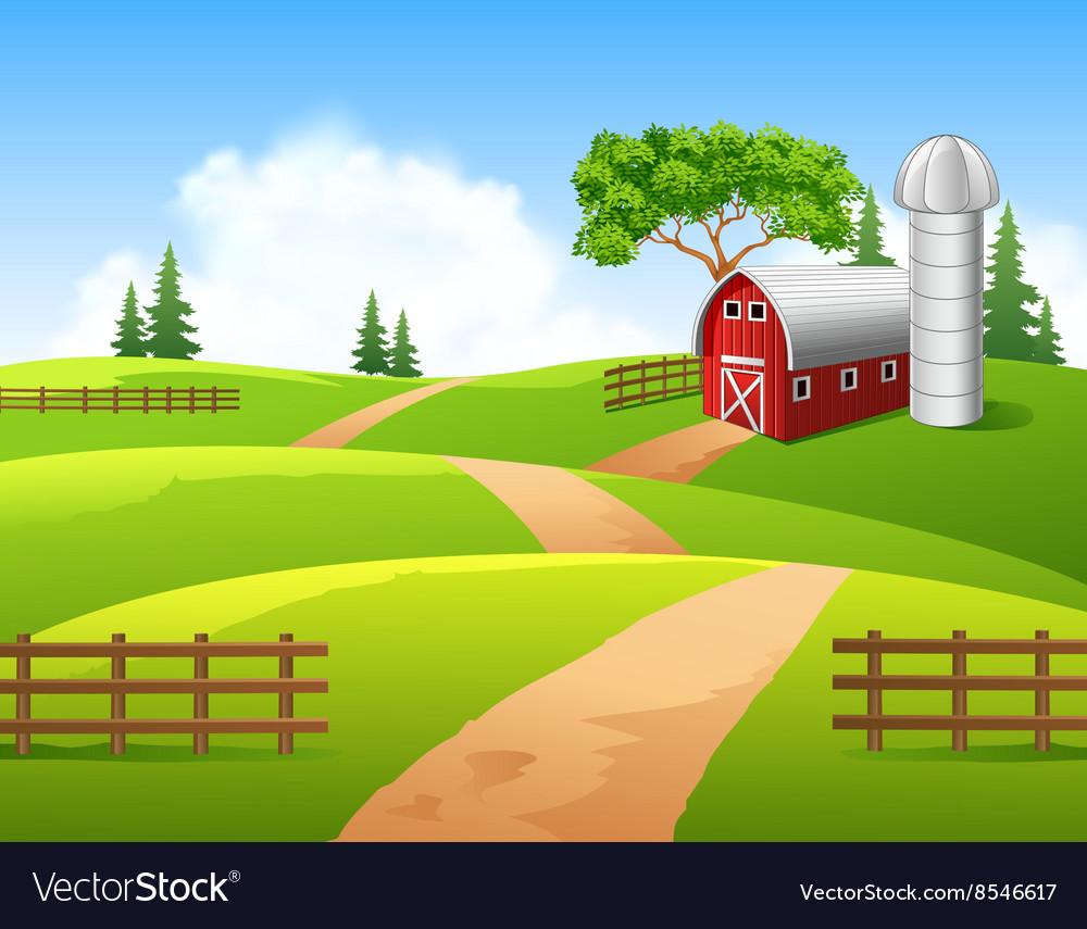 Cartoon farm background Royalty Vector Image 1000x855