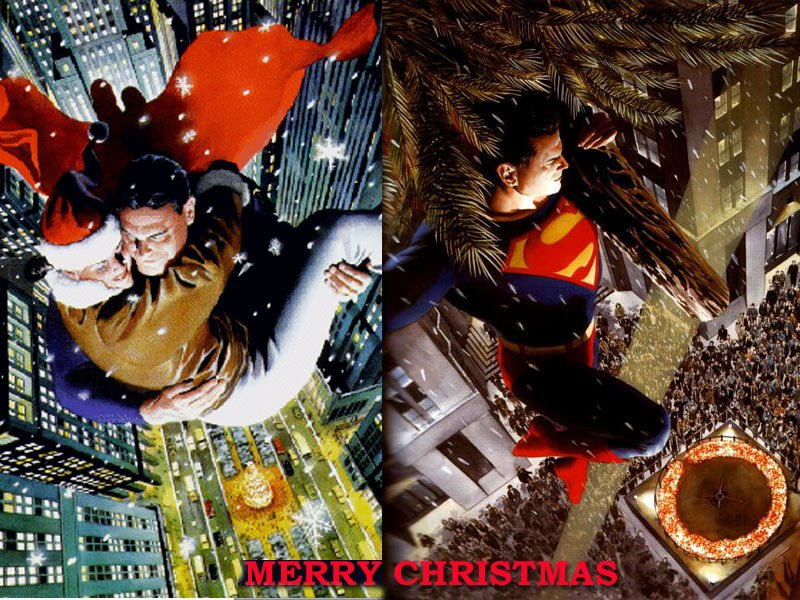 christmas super hero wallpaper featuring superman back to christmas 800x600