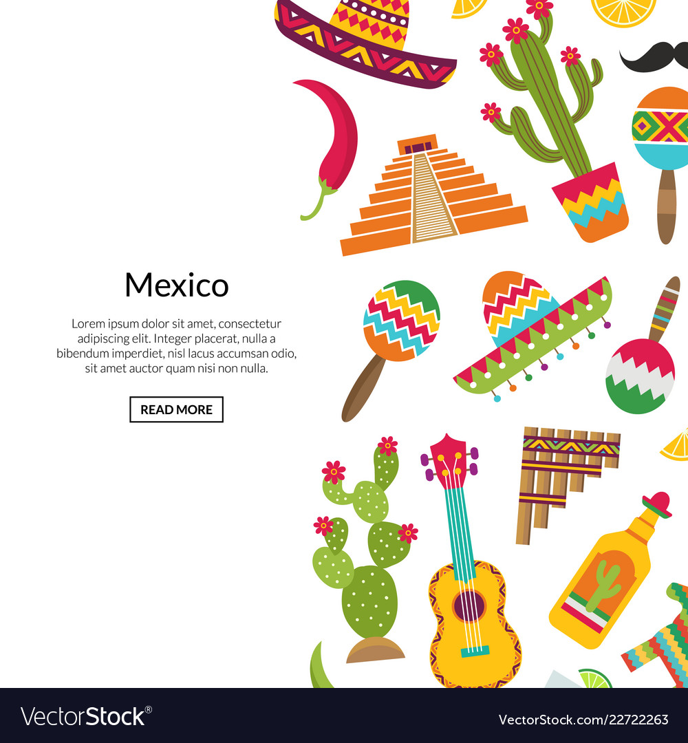 Flat mexico attributes background with Royalty Vector 1000x1080