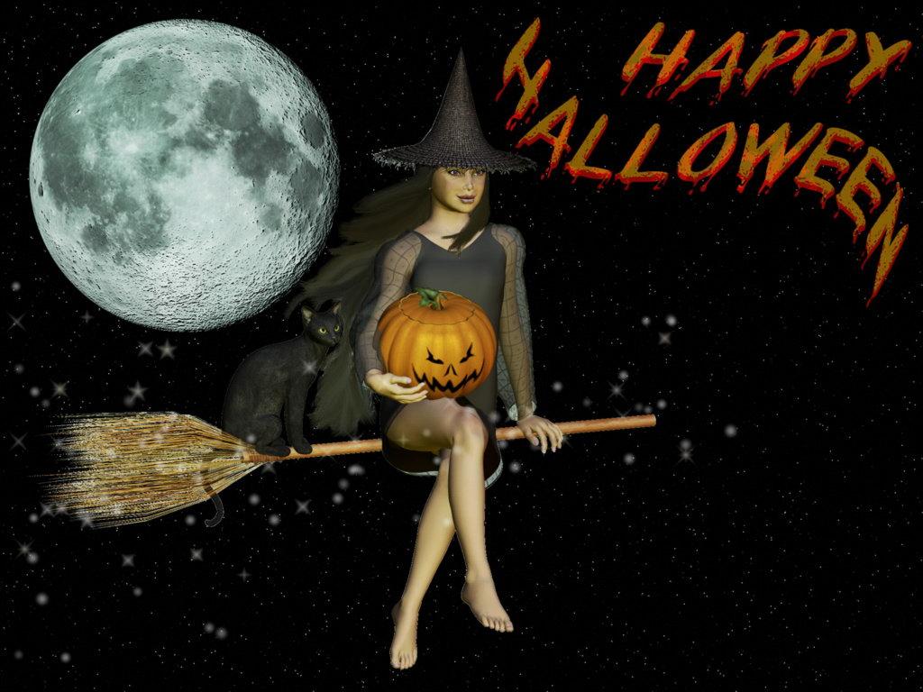 Happy Halloween Witch Wallpaper Janus Aureus 1024x768