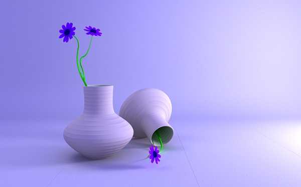 Vase and Flowers digitally created 3D Wallpaper 600x374