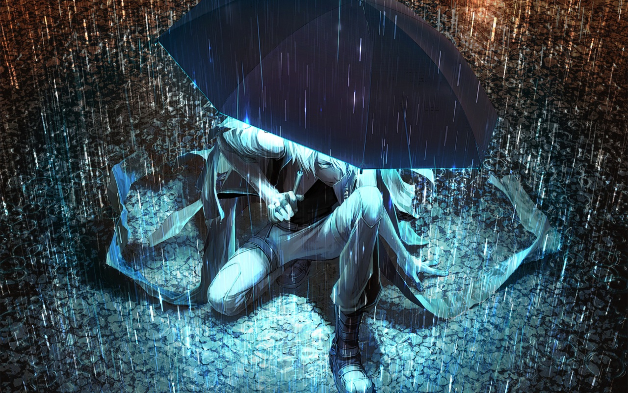 Download Anime Rain Night Wallpaper in 1280x800 Resolution 1280x800