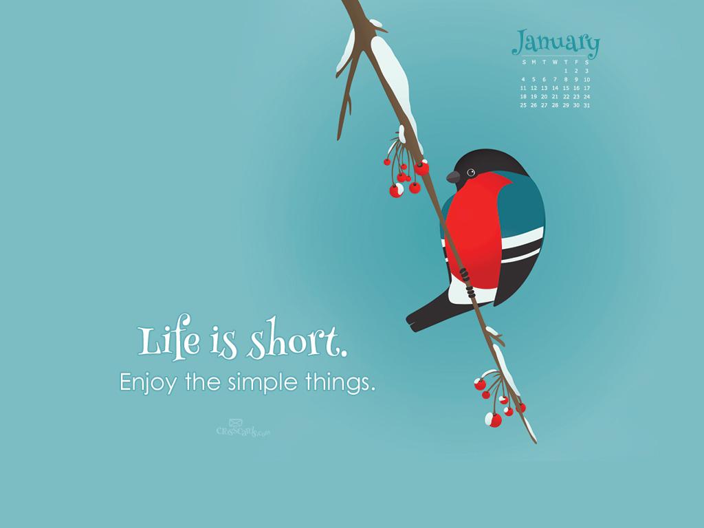 Life is Short Desktop Calendar  Monthly Calendars Wallpaper 1024x768