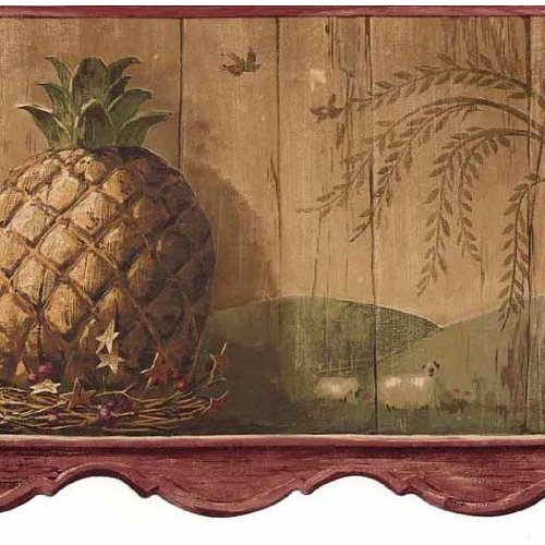 Pineapple Burgundy Wallpaper Border Home Improvement 500x500