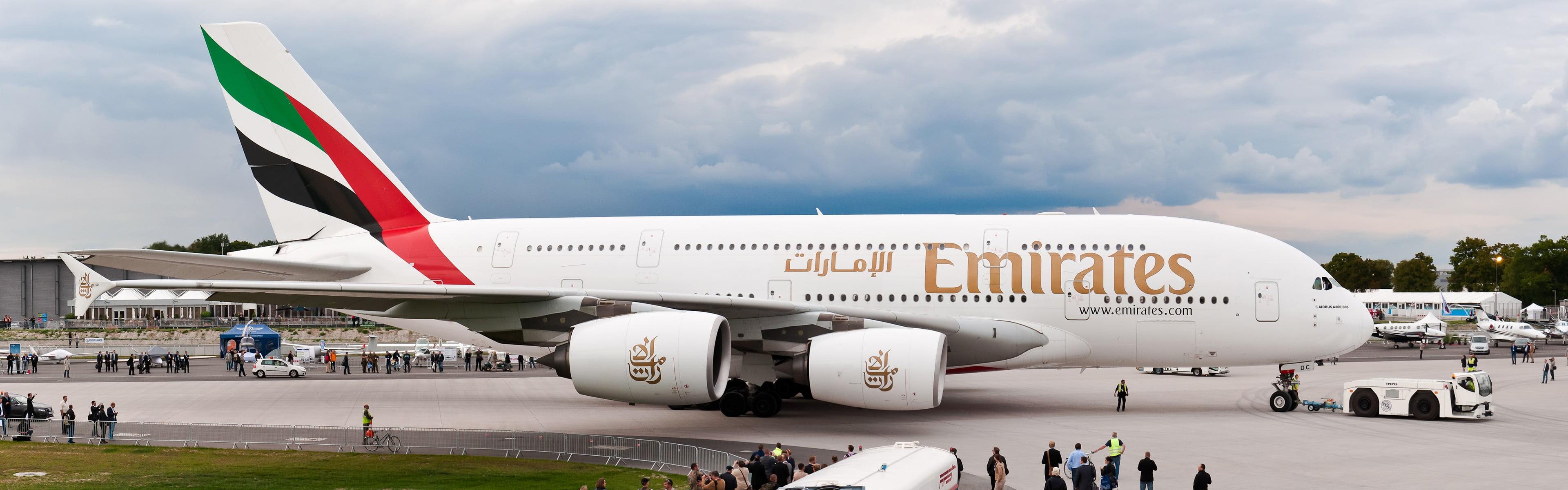 United Arab Emirates plane Emirates A380 aircraft airplane HD 3840x1200