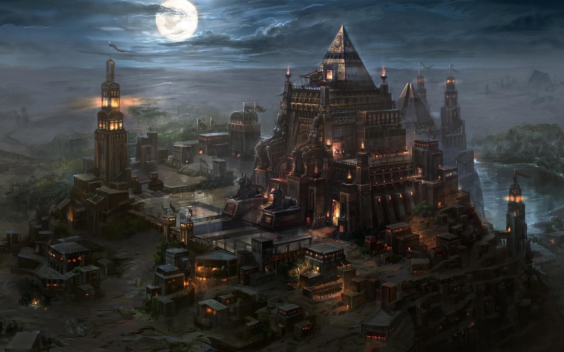 Kingdom Under Fire IIfantasy art cities castle buildings temple night 1920x1200