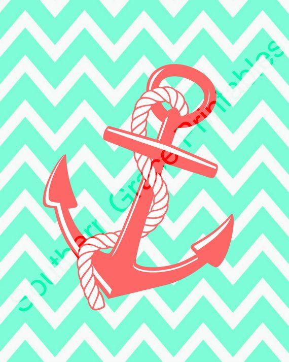 Anchor wChevron Background Printable chevron anchor coral mint 570x713